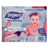 Drypers Wee Wee Dry Box XL 12-17kg Disposable Diapers 36 X 4packs - Malaysia