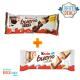 [EXCLUSIVE BUNDLE] Kinder Bueno 2pcs White & 2pcs Dark 2x43g - Italy
