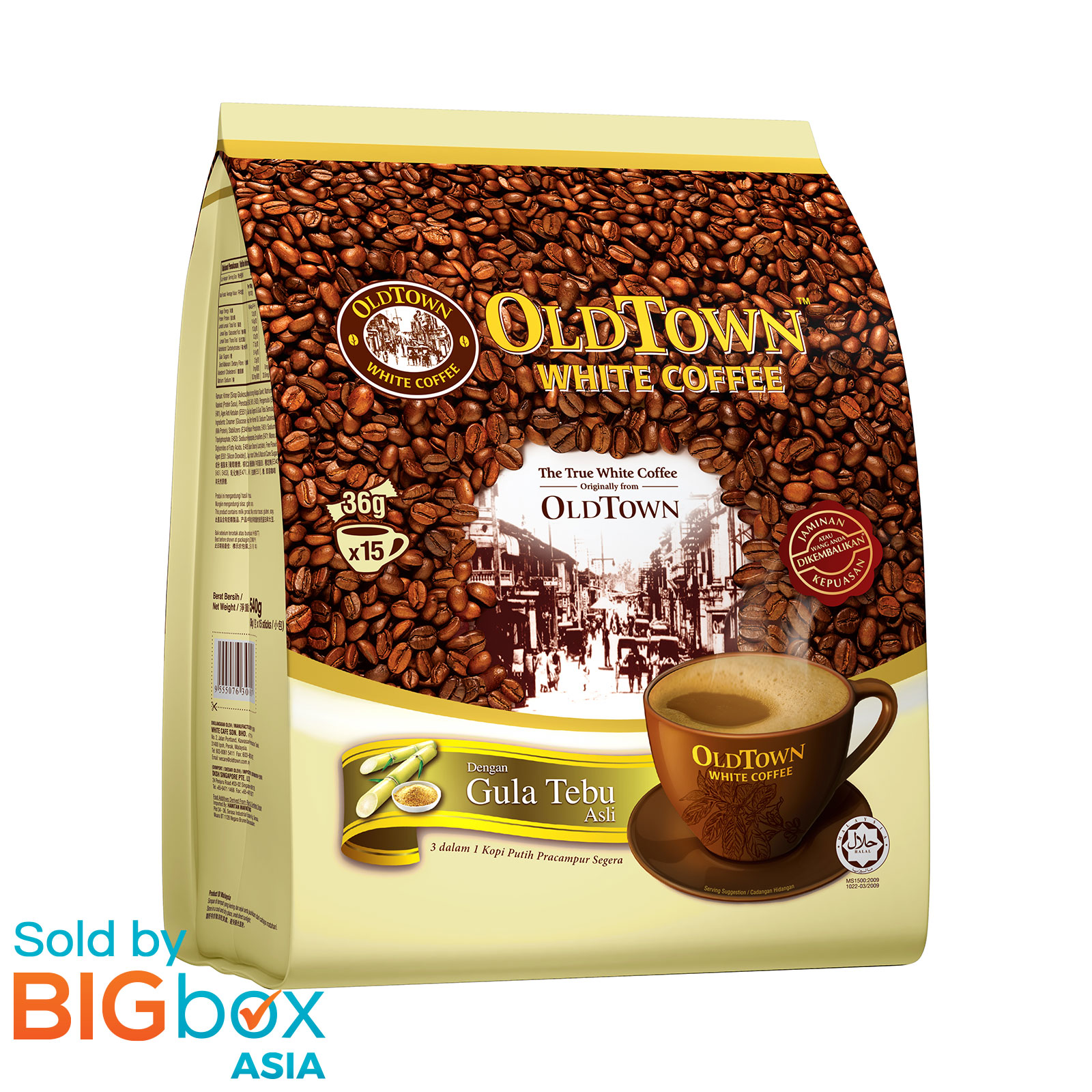 OLDTOWN White Coffee 3in1 540g (36g x 15s) - Natural Cane Sugar