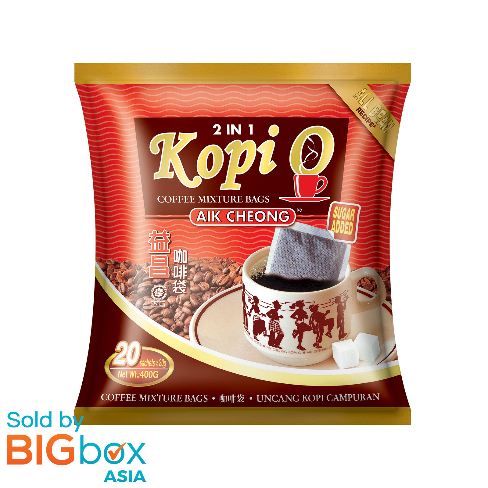 AIK CHEONG Kopi-O Bag 2in1 400g (20g x 20 sachets) - Sugar Added