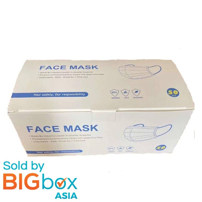 Jenns 3ply Disposable Face Mask 50pcs with Ear Loop Topeng
